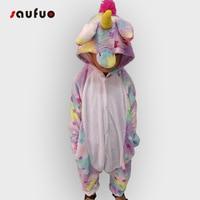 Saufuo Kid Star Unicorn Pajamas Flannel Nightie Halloween Winter Adult Onesie Pijama De Unicornio Unisex Sleepwear