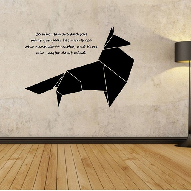 Origami Fox Wall Decal Geometric Animal Quotes Wall Sticker Bedroom