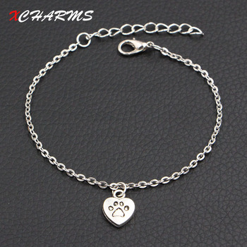 Dog Paw Heart Charms Bracelet 3