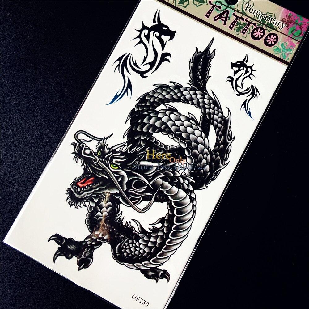 ჱnoir Chinois Dragon Temporaire Autocollant De Tatouage Impermeable