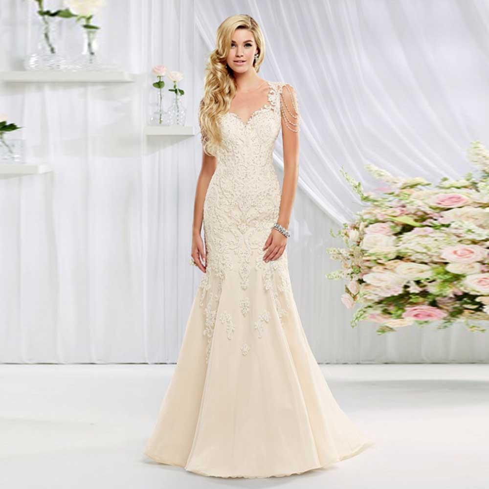 2016 Elegant Style Sheer O Neck Lace Soft Material Trumpet Beading Long Bridal Gown Wedding Dress Online Mermaid Corset In Dresses From