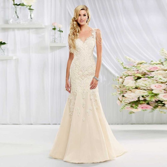 2016 Elegant Style Sheer O Neck Lace Soft Material Trumpet Beading Long Bridal Gown
