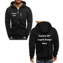 새로운 도착 사용자 정의 DIY 로고 텍스트 이미지 스포츠 코트 후드 남자 패션 멋진 지퍼 자켓 의상