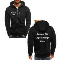 Nueva llegada personalizado DIY Logo texto imagen abrigo deportivo sudaderas hombres moda Cool cremallera chaqueta traje