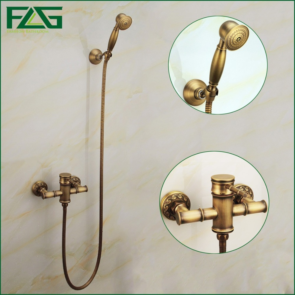 FLG Free Shipping Wall Mounted Antique Brass Bathroom Faucet Bathtub Tub Mixer Tap With Hand Shower Head Shower Faucet HS008 old antique bronze doctor who theme quartz pendant pocket watch with chain necklace free shipping