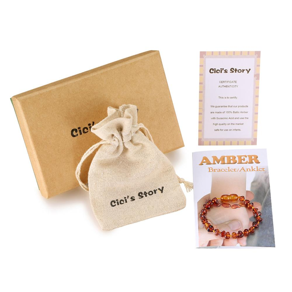 Baltic Amber Teething Bracelet/Anklet for Baby Size 14-16cm - Gift Box - 4 Colors - Ship from US&UK&AU&CN(China)