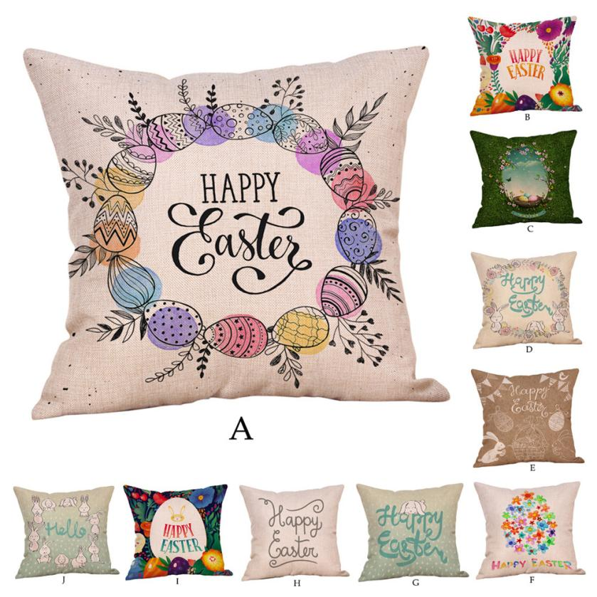 Bedroom Furniture Easter Sale: Cushion Covers For Bedroom Happy Easter Pillow Cases Linen