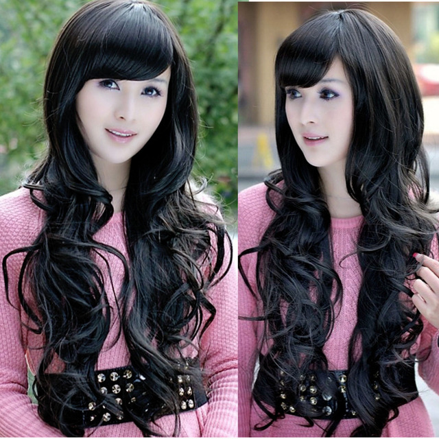 Wholesale Price Hot Sell Sxq Lady Cool Black Wavy Long Hair Layer