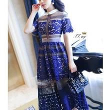 Высокое качество пользовательские Автопортрет летний Стиль Мода подиума платье Кружева Вышивка сексуальные кружева длинные платья для вечеринок плюс размер