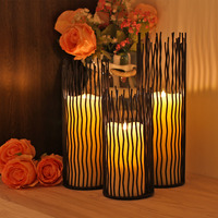 GiveU Metal Willow Candleholder Set Of 3 Black 8 10 12 Inch Height Functional Table Decoration