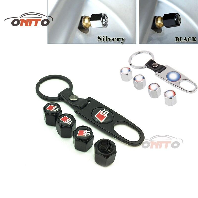 Car Styling Metal S line S/RS Logo Emblem wheel valve cap Car Side rim covers Nuts & Bolts for Audi A3 A4 A5 A6 A8 Q3 Q5 Q7 TT