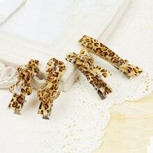 Новая Мода Корейский Аксессуары Для Волос Leopard Клип Шпилька Челки Крест Лук Ткань Темперамент Хвост Заколки Для Волос для Женщин