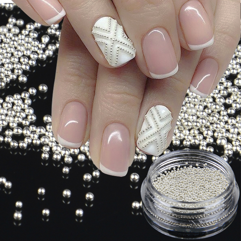 1 BottleTiny Circle Bead Decoration Silver Gold 3D Nail Art Caviar DIY Accessories Manicure Tools rose gold silver black nail beads caviar studs multi size diy 3d nail art uv gel lacquer decoration in wheel manicure accessorie