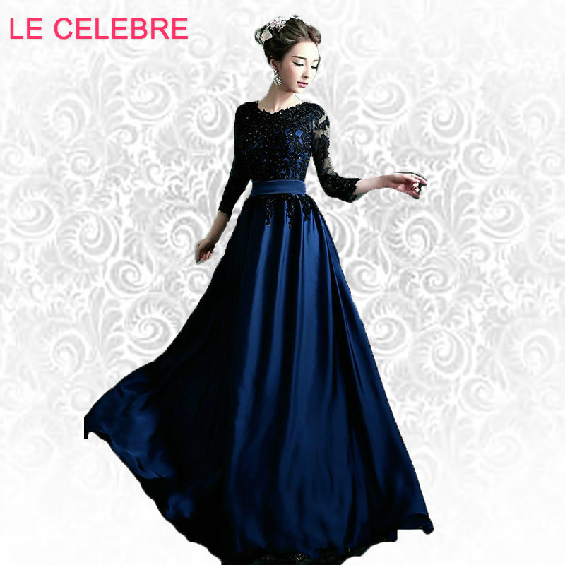 LE CELEBRE Blue black long sleeved bride evening Dresses dinner will host long blue lace princess beading evening dress 10097 ...