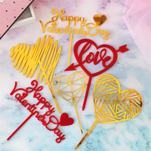 LOVE Wedding Acrylic Cake Topper Gold Red Heart Cupcake Anniversary Happy Birthday Valentines Day Party Decorations