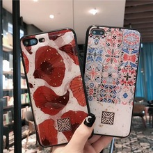 Red Leaf and Ethnic Style Gold Foil Bling TPU Case For iPhone 11 XMAX XR X Soft Silicone Cover 7 8 Plus Glitter Capa