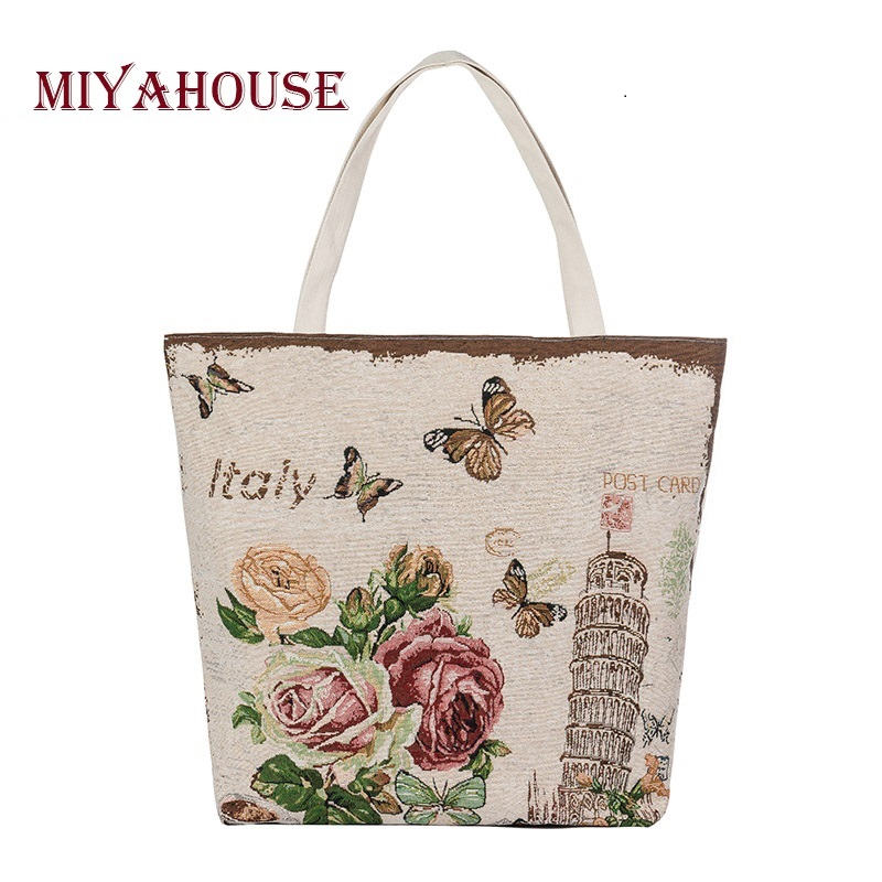 European Style Female Canvas Tote Floral And Tower Printing Handbags Women Canvas Beach Bag For Girls Embroidery Shoulder Bags купить