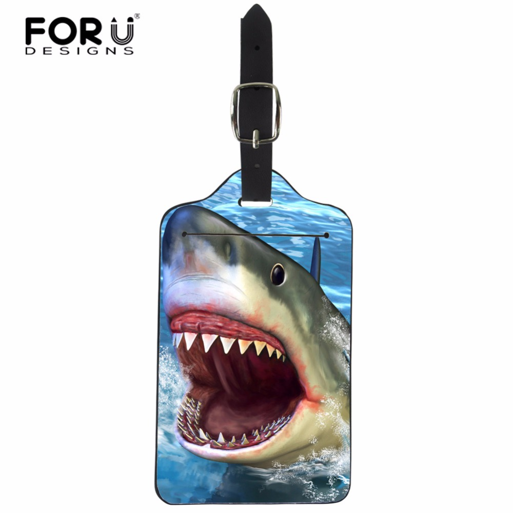 FORUDESIGNS Travel Accessories Luggage Tag Creative Cartoon Dolphin PU Leather ID Bank Card Bag Unisex Business Suitcase Label