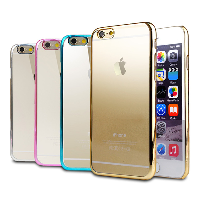 New Clear Gold coque Case for Apple iPhone 6 4.7 funda Transparent Back Phone cover for iPhone 6 6S case luxury accessories