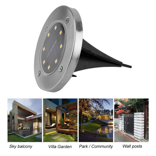 Fdit 12 Pcs 8 LED Solar Powered Outdoor Garden Light Lawn Path Yard Fence