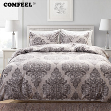 COMFEEL Home Textile Double Bed Cover Set Grey Geometric Print King Bedding Set Cotton Kids Bedding Comforter Sheet Blue Eyes