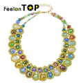 New Arrival Gold Color Chain Modern Colorful Imitation Crystal Choker Necklace For Women Maxyum Wholesale