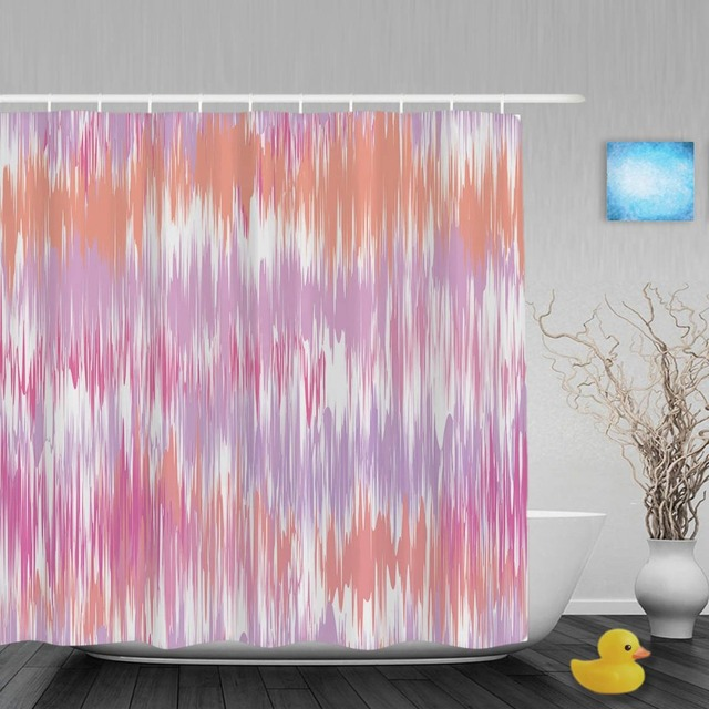Pink Ikat Seamless Pattern Design Bathroom Shower Curtain Unique Designed Curtains Waterproof Polyester Fabric With