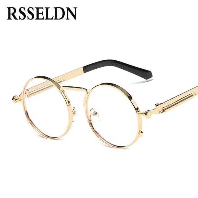 0b0eec74c1 RSSELDN High Quality golden Round Glasses Frames Women Brand Eyeglasses  Frame Men Clear Lens Retro Classic