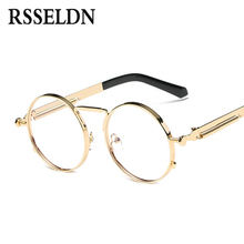 RSSELDN Alta Calidad Ronda de oro Marcos de Los Vidrios Hombres Marco de Las Lentes Lente Transparente Gafas Retro Clásico de Mujer de Marca oculos