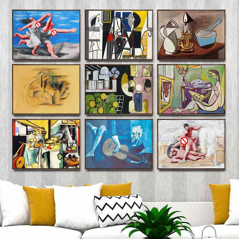 Home Decoration Art Wall Pictures Fro Living Room Poster Print Canvas Paintings  Spanish Pablo Picasso Abstract Figure Painting
