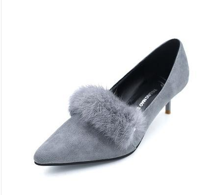 Spring of 2016 new female pointed Rex rabbit fur stiletto heels shoes asakuchi scoop shoes elegant shoes with foreign trade