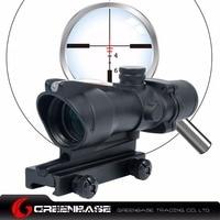 Greenbase Enhanced Edition AR15 308 ACOG 4x32 Optical Rifle Scope With Real Red Optic Fiber Black