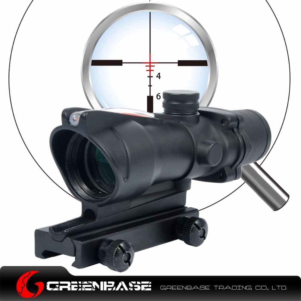 Greenbase ACOG .308 Real Red Illuminated BDC 4x32 Optic Fiber Source Rifle Scope M4 M16 AR15 Scope Hunting Red Dot Sight greenbase dt sightc red point dark earth black