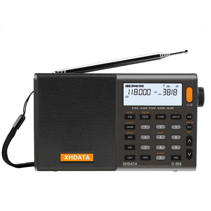 XHDATA D-808 Tragbares Digitalradio FM-Stereo / SW / MW / LW-SSB-AIR-RDS-Multiband-Radio-Lautsprecher mit LCD-Display-Wecker