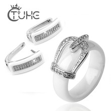 Health Material Wedding Jewelry Sets For Women Classic Crystal Crown Bride Jewellery Engagement Stud Earrings Rings Wedding Sets(China)