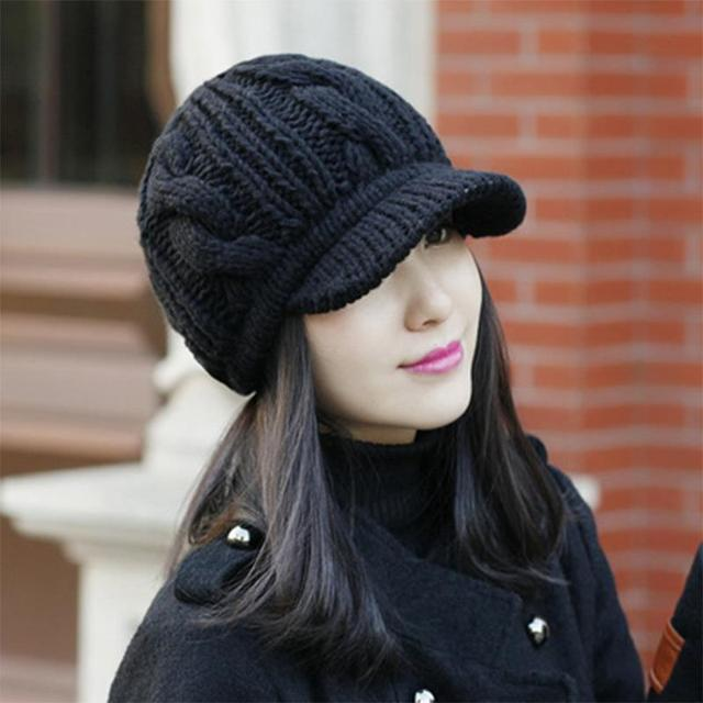 Warm Black Winter Hats For Women Knitted Wool Hat Ears Cover Berets Winter  Woman Casual Beret Cap Spring and Autumn AHT005 52d5270b4b68