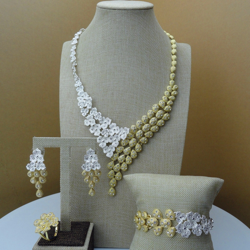 Yuminglai Costume Jewelry 24k Dubai Gold Jewelry Sets for Women Two Tones FHK6393