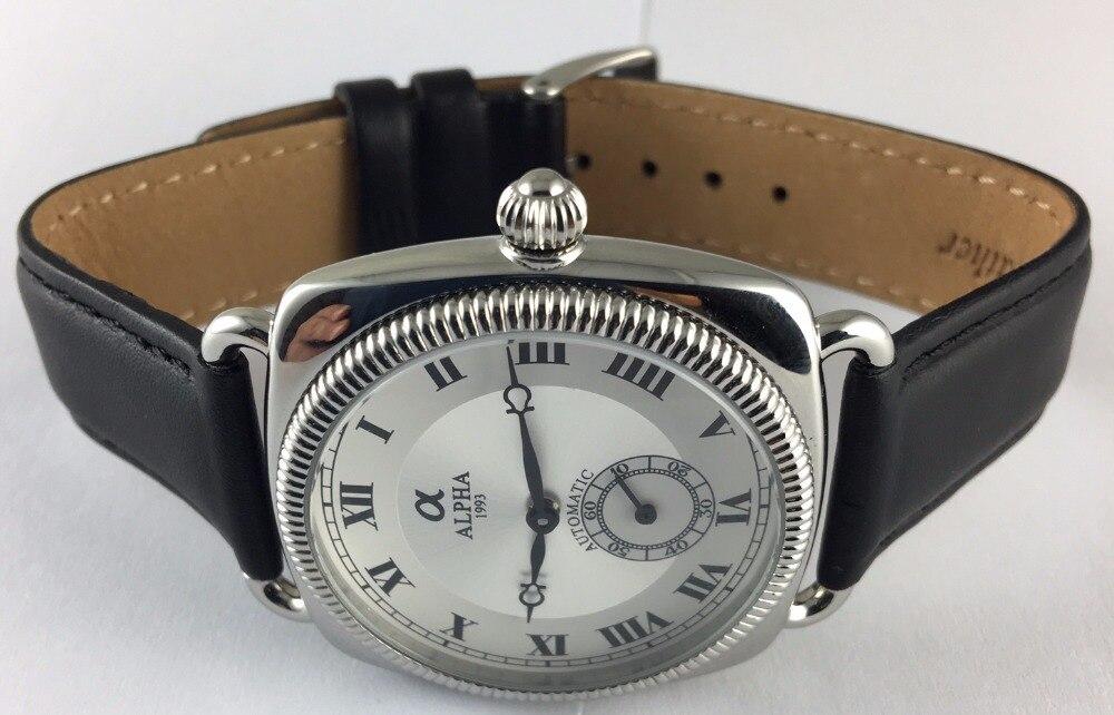 Argento quadrante carica Automatica stile vintage orologio meccanico-in Orologi meccanici da Orologi da polso su  Gruppo 1