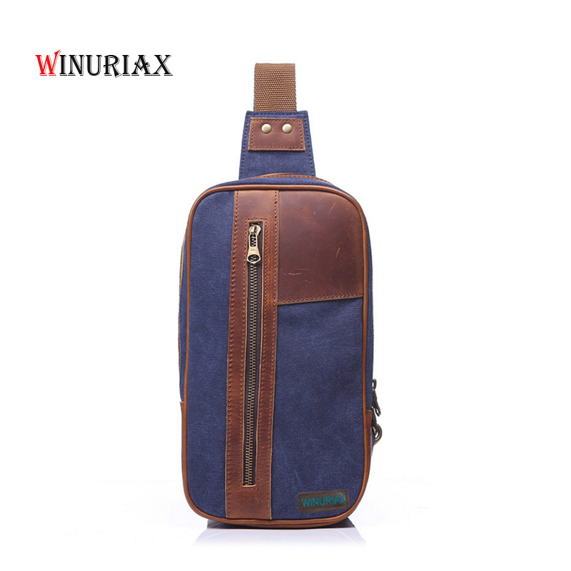 WINURIAX Men Canvas Chest bag waterproof Casual travel shoulder Messenger bags solid large capacity  male Vintage handbag high quality authentic famous polo golf double clothing bag men travel golf shoes bag custom handbag large capacity45 26 34 cm