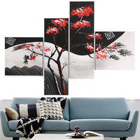 Unframed 4Panel Red Leaves Tree Black White Pop Art 100% Handmade Abstract Oil Painting on Canvas Wall Picture Poster Home Decor