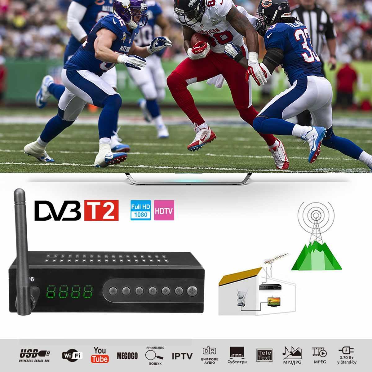 LEORY HDMI récepteur Tv Satellite Tuner Dvb T2 Wifi Full HD 1080 P Dvb-t2 Tuner TV boîtier Dvbt2 avec antenne