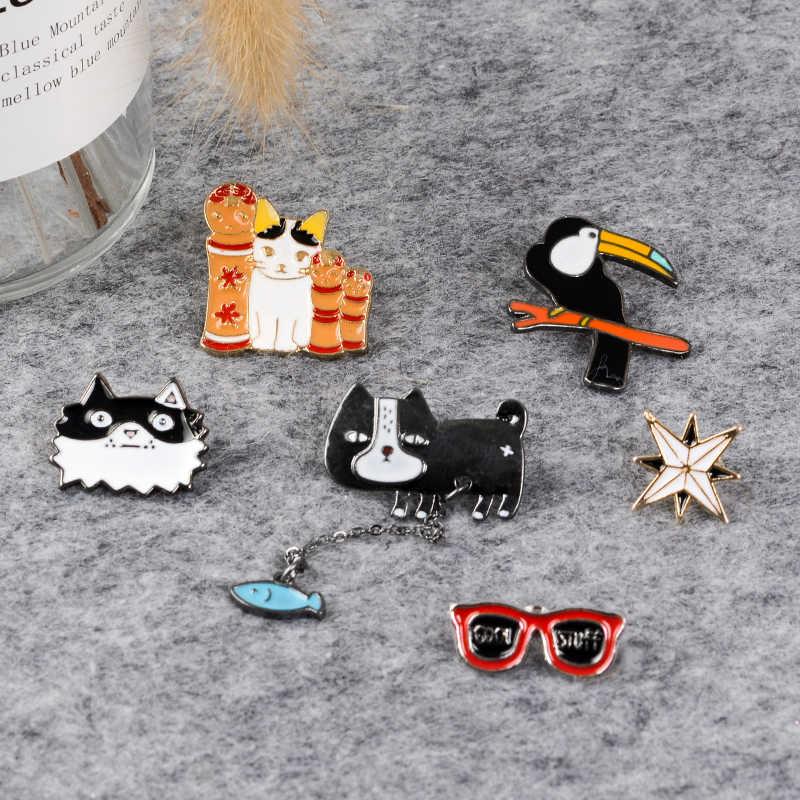 Броши в форме животных мультфильм контакты Тукан птица кошка собака солнцезащитные очки-звездочки эмалированный значок-булавка на лацкан брошь для друзей детские ювелирные изделия подарок