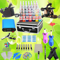 USA Dispatch Beginner Tattoo Kits 2 Machine Gun 28 Ink Needles Tips Grips Power equipment Set for Starter K001 Supplies