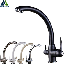 Swivel Drinking Water Kitchen Faucets 360 Degree Rotation with Water Purification Features Double HandleF Tri Flow 3 Way Filter