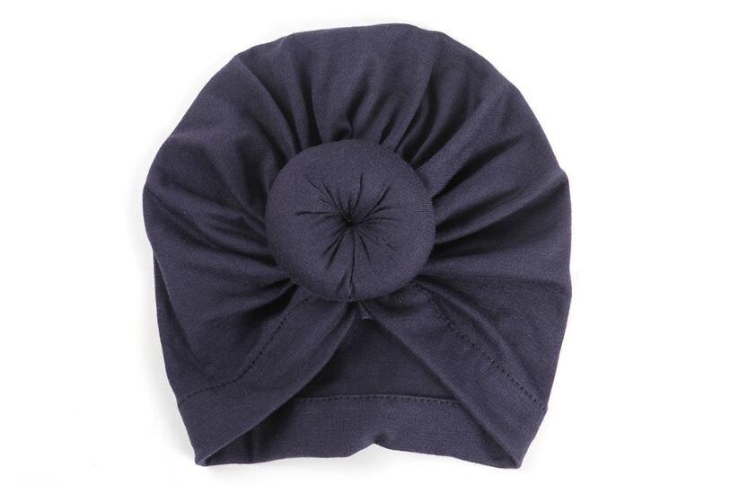 Коллекция года, Детские аксессуары для новорожденных, малышей, детей, малышей, маленьких мальчиков и девочек, тюрбан, хлопковая шапка, зимняя теплая мягкая шапка, одноцветные, с узелком, мягкая шапка - Цвет: Dark blue