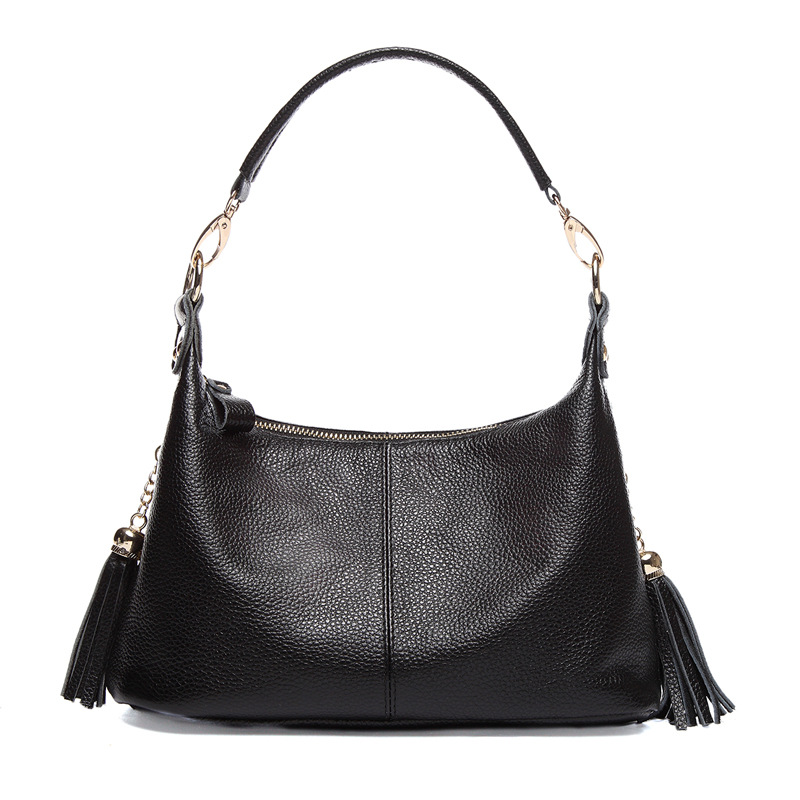 2017 New women hobo handbag genuine cow leather tassle female shoulder bag mom's tote bag casual ladies messenger/crossbody bag
