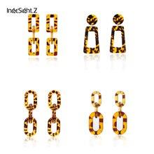 IngeSight.Z Fashion Tortoise Leopard Acrylic Acetic Acid Drop Earrings for Women Statement Resin Geometric Long Dangle