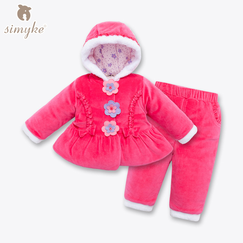 Simyke Toddler Velvet Winter Sets 2017New 2pcs Set Jacket+Trousers for Baby Girl Toddler Children's Set Kids Clothing W60007 2016 winter new soft bottom solid color baby shoes for little boys and girls plus velvet warm baby toddler shoes free shipping