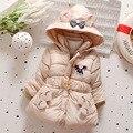 Chaqueta de invierno Para Niñas Abrigo de Invierno Gruesa de Algodón Wadded ropa de Abrigo Con Capucha Parka de Invierno de Los Niños Chaquetas de La Manera Del Arco de la Correa