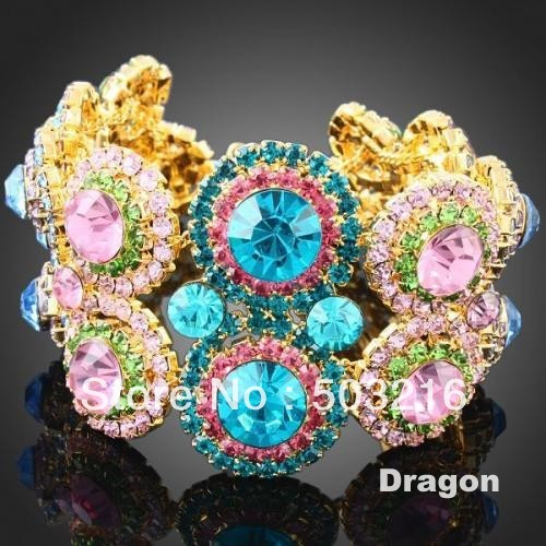 Free Shipping High Quality Silver Plated Colorful Rhinestone Charm Bracelet